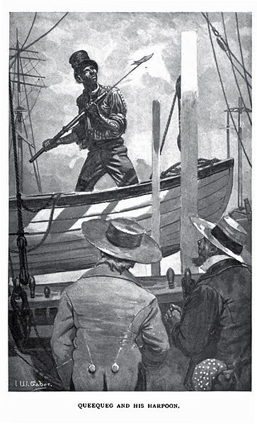 Queequeg and His Harpoon; public domain