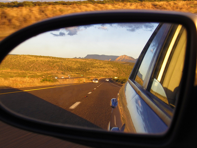 """Sedona Area in My Rear View, S.R. 89A Between Sedona and Cottonwood, Arizona"" © Ken Lund"