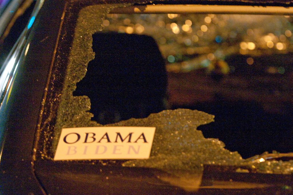 """Obama Biden, Oakland Riots"" © Thomas Hawk; Creative Commons license"