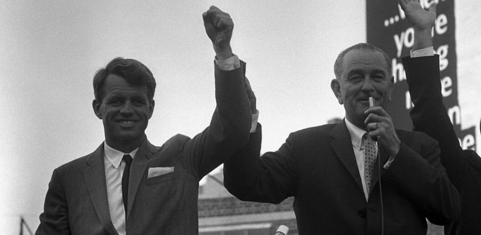 President Lyndon B. Johnson and Robert F. Kennedy Campaigning in New York, 1964; photo by Cecil W. Stoughton; Public Domain