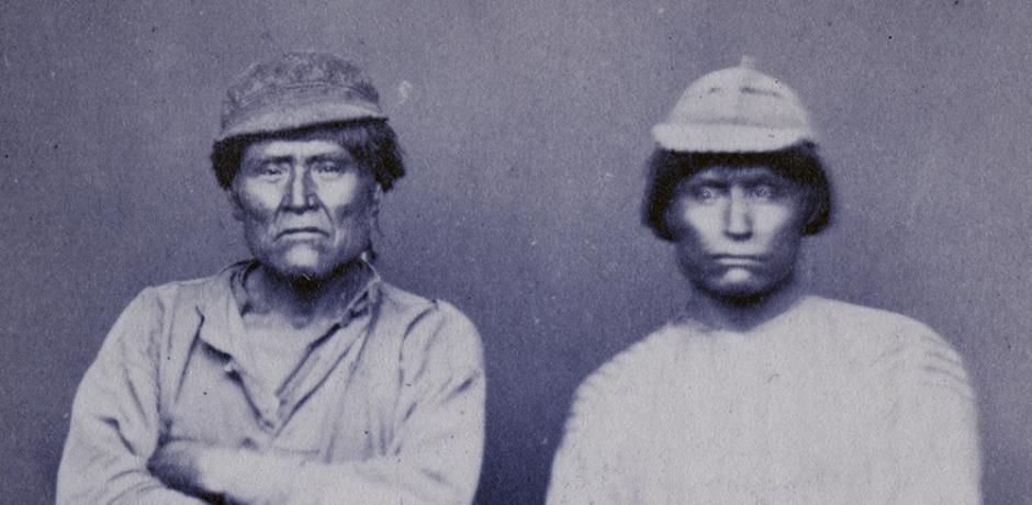 """""""Schonchin and Jack,"""" photographic portraits of Modoc Indians of Modoc War, courtesy of the California Historical Society, PC 006_05"""